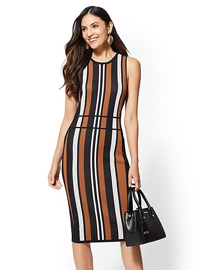 7th Avenue - Petite Stripe Sweater Sheath Dress - New York & Company