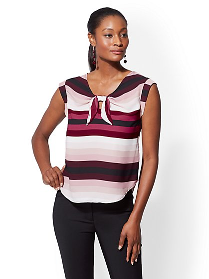 7th Avenue - Petite Stripe Tie-Front Blouse - New York & Company