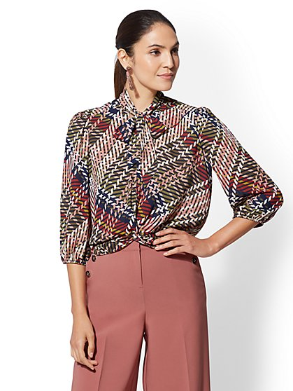 7th Avenue - Petite Twist-Front Tie-Neck Blouse - New York & Company