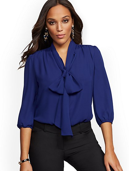 7th Avenue - Petite V-Neck Bow Blouse - New York & Company