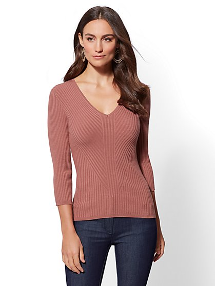 7th Avenue - Petite V-Neck Sweater - New York & Company