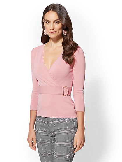 7th Avenue – Petite V-Neck Wrap Sweater - New York & Company