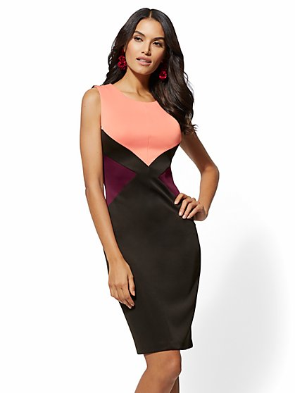 7th Avenue - Pink Colorblock Sheath Dress - New York & Company