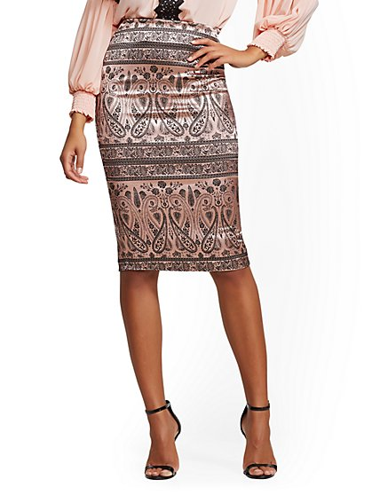 7th Avenue - Pink Jacquard Pencil Skirt - New York & Company
