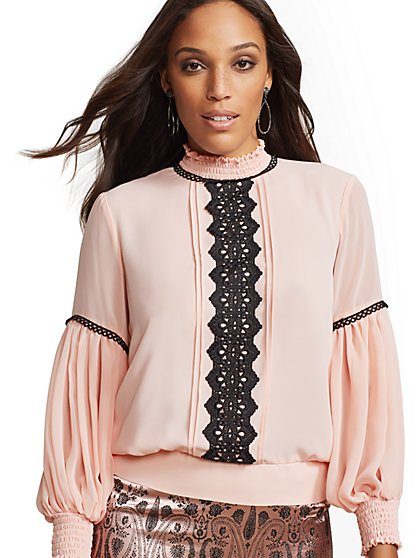 7th Avenue - Pink Lace-Trim Smocked Blouse - New York & Company