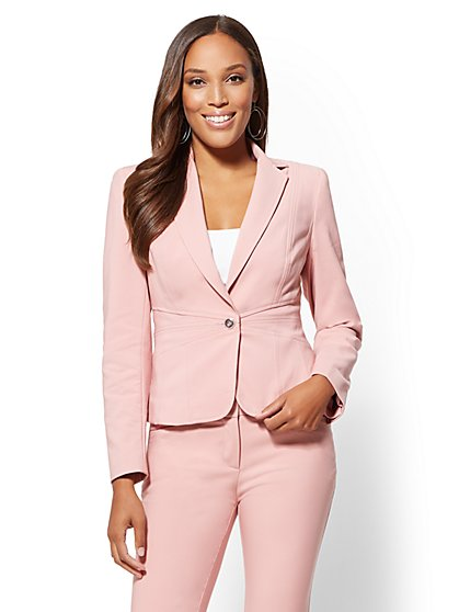 7th Avenue - Pink One-Button Jacket - All-Season Stretch - New York & Company