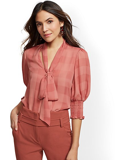 7th Avenue - Pink Stripe Bow Blouse - New York & Company
