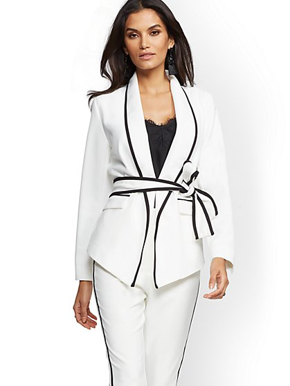 7th Avenue - Piped Ivory Belted Jacket - New York & Company