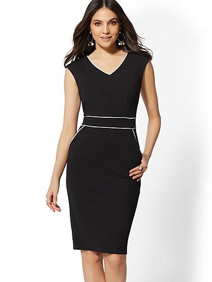 7th Avenue - Piped V-Neck Sheath Dress - Magic Crepe - New York & Company
