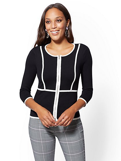 7th Avenue - Piped Zip-Front Cardigan - New York & Company