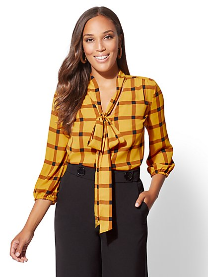 7th Avenue - Plaid Bow-Accent Blouse - New York & Company