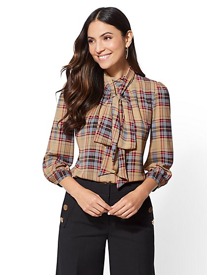 7th Avenue - Plaid Bow Blouse - New York & Company