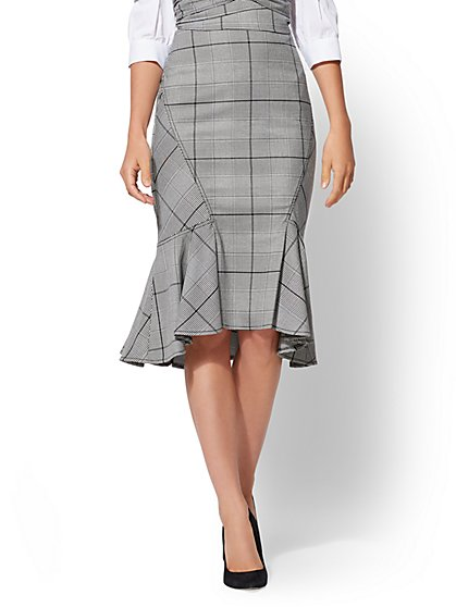 7th Avenue - Plaid Flounce Skirt - New York & Company