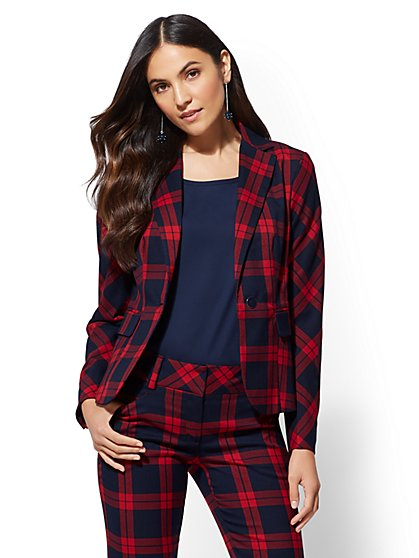 7th Avenue - Plaid One-Button Jacket - New York & Company