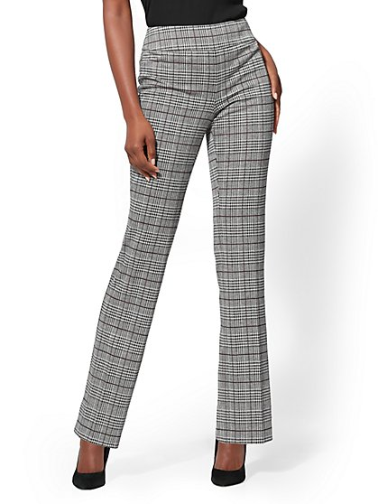 7th Avenue - Plaid Pull-On Straight-Leg Pant - Ponte - New York & Company