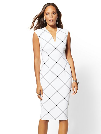 7th Avenue - Plaid V-Neck Sheath Dress - New York & Company