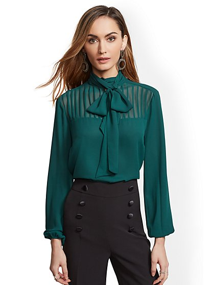 7th Avenue - Pleated Bow Blouse - New York & Company