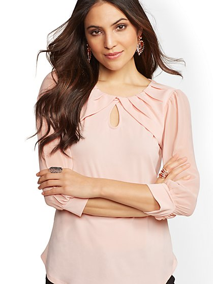 7th Avenue - Pleated Crisscross Blouse - New York & Company