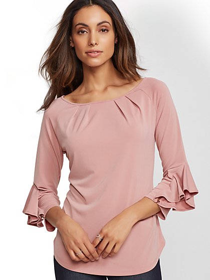 7th Avenue - Pleated Flounced-Cuff Top - New York & Company