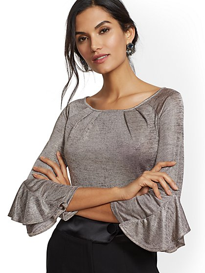 7th Avenue - Pleated Scoopneck Top - New York & Company