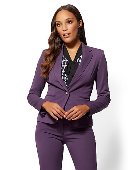 7th Avenue - Plum One-Button Ruffled Jacket -Superstretch - New York & Company