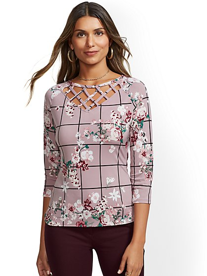 7th Avenue - Print Lattice V-Neck Top - New York & Company