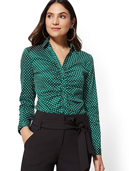7th Avenue - Print Ruched Madison Stretch Shirt - New York & Company