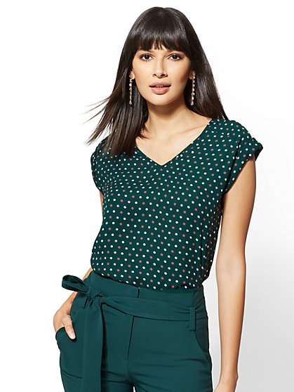 7th Avenue - Print V-Neck Blouse - New York & Company