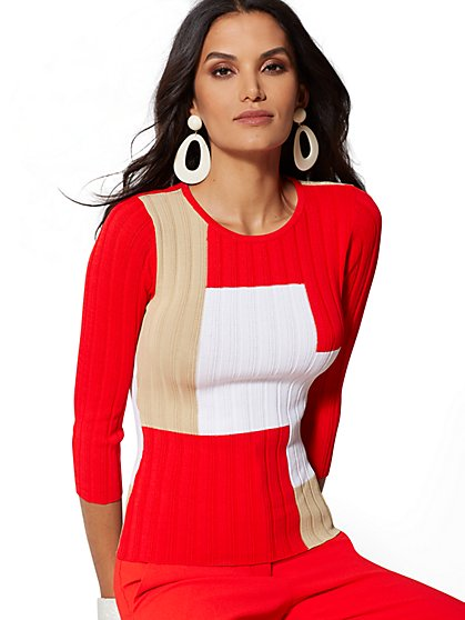7th Avenue - Red Colorblock Sweater - New York & Company