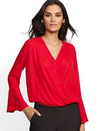 7th Avenue - Red V-Neck Wrap Blouse - New York & Company