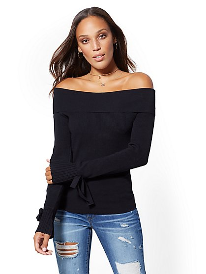 7th Avenue - Ribbed-Knit Off-The-Shoulder Sweater - New York & Company