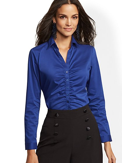 7th Avenue - Ruched Madison Stretch Shirt - New York & Company