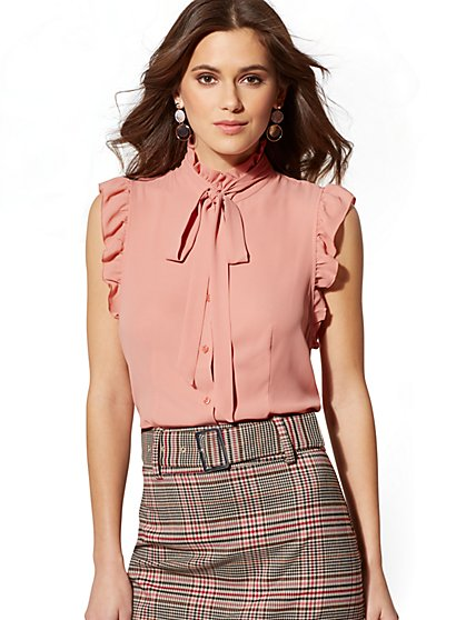 7th Avenue - Ruffled Bow Blouse - New York & Company