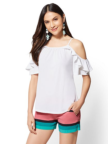 7th Avenue - Ruffled Cold-Shoulder Top - New York & Company