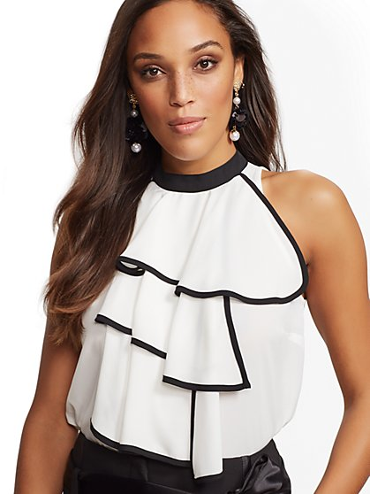 7th Avenue - Ruffled Sleeveless Top - New York & Company