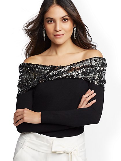 7th Avenue - Sequin Off-The-Shoulder Sweater - New York & Company
