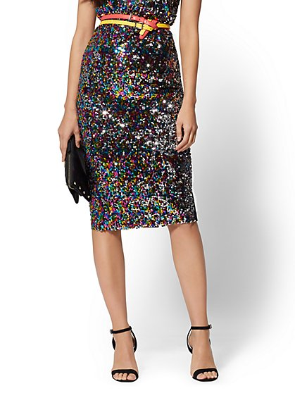 7th Avenue - Sequin Ponte Pencil Skirt - New York & Company
