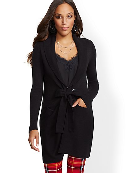 7th Avenue - Shawl-Collar Grommet Cardigan - New York & Company