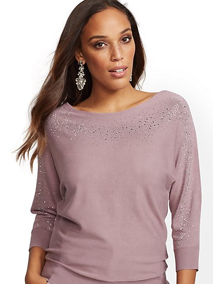7th Avenue - Shimmering Bateau-Neck Sweater - New York & Company
