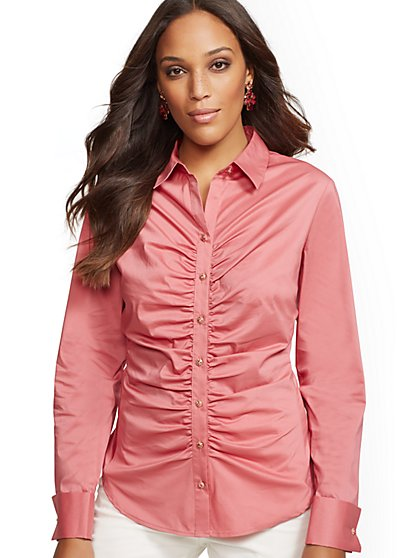 7th Avenue - Shirred Madison Stretch Shirt - New York & Company