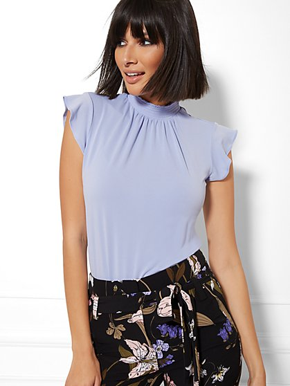 7th Avenue - Smocked Ruffled Top - New York & Company