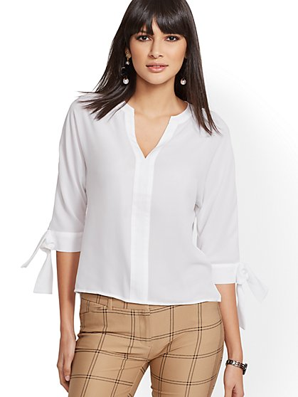 7th Avenue - Split-Neck Blouse - New York & Company