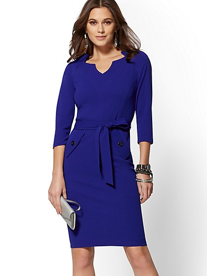 7th Avenue - Split-Neck Scuba Crepe Sheath Dress - Magic Crepe - New York & Company