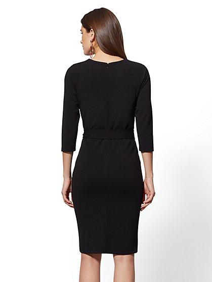 b4434a3e ... 7th Avenue - Split-Neck Scuba Crepe Sheath Dress - New York & Company  ...