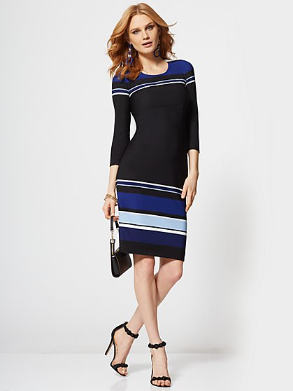 7th Avenue - Stripe 3/4-Sleeve Sheath Dress - New York & Company