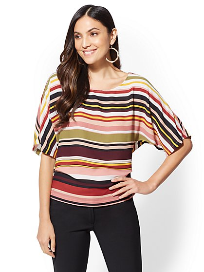 7th Avenue - Stripe Dolman Blouse - New York & Company