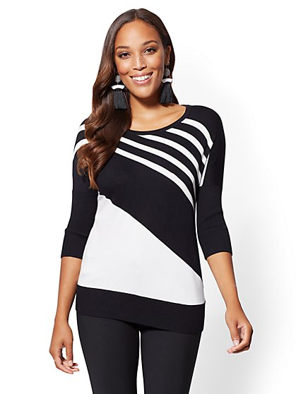 7th Avenue - Stripe Dolman Sweater - New York & Company