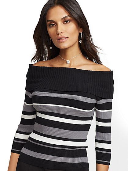 7th Avenue - Stripe Off-The-Shoulder Sweater - New York & Company
