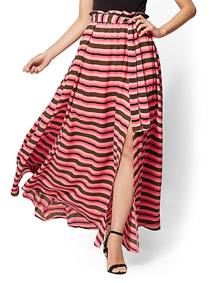 7th Avenue - Stripe Paperbag-Waist Maxi Skirt - New York & Company
