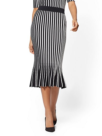 7th Avenue - Stripe Pleated Sweater Skirt - New York & Company